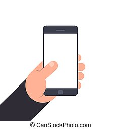 Hand holding smartphone with blank screen. Flat illustration isolated on white background. Mockup for design.