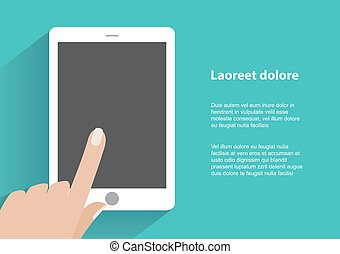 Hand holding smartphone with blank screen
