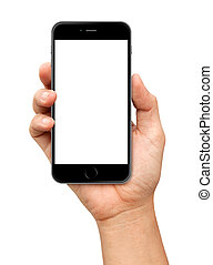 Hand holding Smartphone with blank screen on white...