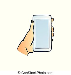 Hand holding smartphone with blank touchscreen in sketch style isolated on white background.