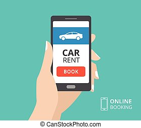 Hand holding smartphone with book button and car icon on screen. Design concept of online booking, car hire mobile application. Flat design vector illustration