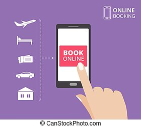 Hand holding smartphone with book button on screen. Online booking design concept. hotel, flight, car, tickets.