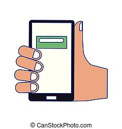 Hand holding smartphone with button on screen blue lines