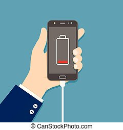 Hand holding smartphone with charger connected and low battery icon on screen. Flat vector illustration