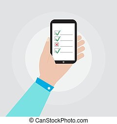hand holding smartphone with checklist icon vector design