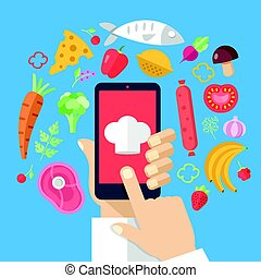 Hand holding smartphone with chef cap on screen and food ingredients around. Cooking concept. Cooking app, online recipes, food delivery, mobile cookbook. Modern flat design vector illustration