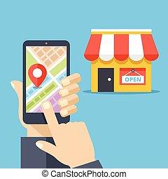 Mobile navigation, gps navigator - Hand holding smartphone...
