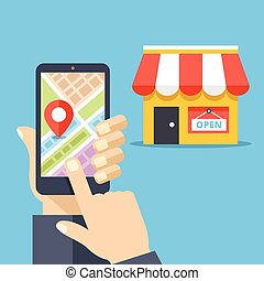 Mobile navigation, gps navigator - Hand holding smartphone ...
