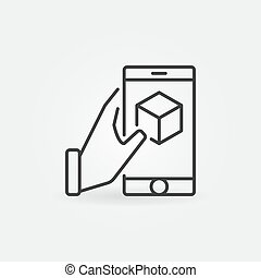 Hand holding smartphone with cube inside vector line icon