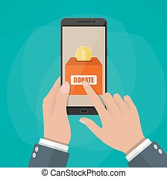 Hand holding smartphone with donate application.