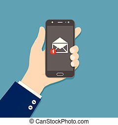 Hand holding smartphone with email icon. Flat style.