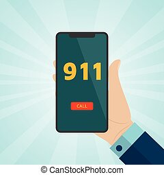 Hand holding smartphone with emergency call 911 on screen