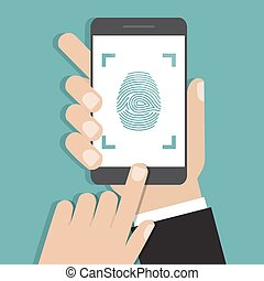 Hand holding smartphone with finger print. Vector illustration