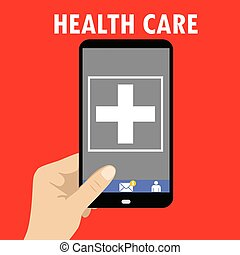Hand holding smartphone with healthcare tools in screen