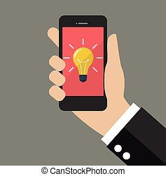 Hand holding smartphone with Light Bulb on display