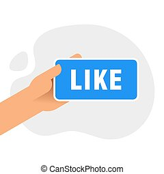 Hand holding smartphone with like message on screen, like button. Thumbs up icon. Social network, social media usage on mobile device. Flat design vector illustration