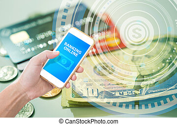 Hand holding smartphone with Mobile banking application on financial graphic background
