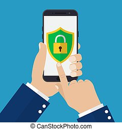 Hand holding smartphone with mobile security