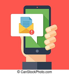 Hand holding smartphone with new email notification. You have 1 new message concept. Get e-mail notification. Cellphone and envelope icon with exclamation point. Modern flat design vector illustration