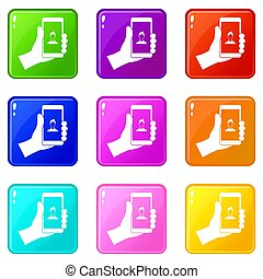 Hand holding smartphone with photo icons 9 set
