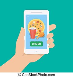 Hand holding smartphone with pizza, cola, chicken