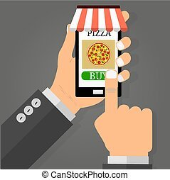 Hand holding smartphone with pizza on the screen. Order fast food concept. Flat vector illustration.
