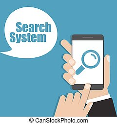 Hand holding smartphone with search icon. Vector illustration