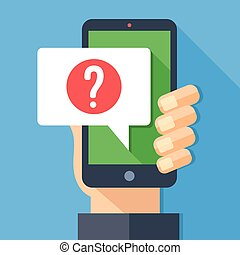 Hand holding smartphone with speech bubble and question mark icon. Ask for help, question, support, digital helper concept. Modern flat design long shadow vector illustration