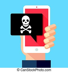 Hand holding smartphone with speech bubble and skull and...