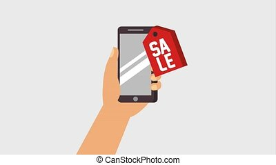 hand holding smartphone with tag price sale promotion video