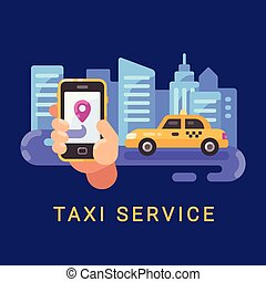 Hand holding smartphone with taxi service mobile app and a car on the road at night. Transportation service flat illustration banner with text