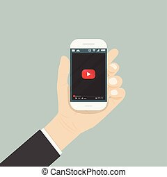 Hand holding smartphone with video player for website on the screen. Mobile applications isolated background. Mobile video player icon. Internet search engine browser window. Flat vector illustration