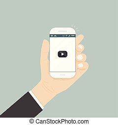Hand holding smartphone with video player for website on the screen. Mobile applications isolated background. Mobile video player icon. Internet search engine browser window.