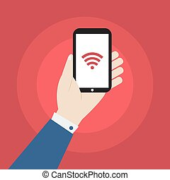 hand holding smartphone with wifi icon vector design