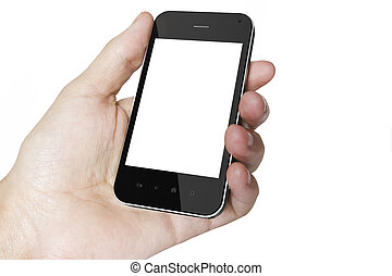 Hand holding Smartphones with Blank Screen isolated on white