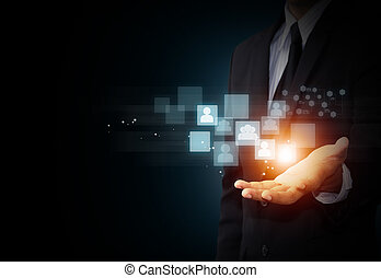 hand holding social media - Male hand holding virtual icon...