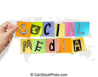 hand holding social media words on sticky note on world map background