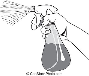 the spray bottle on a white background.