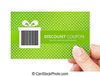 hand holding spring discount card isolated over white ...