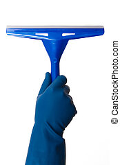 Hand Holding Squeegee - Hand in glove holding blue squeegee,...