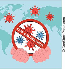 Hand holding stop coronavirus 2019 nCov ban vector design