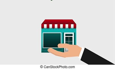 hand holding store online commerce cloud music video