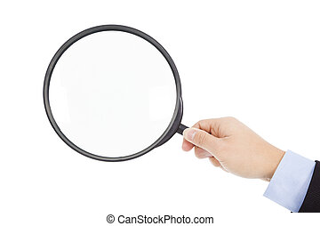 hand holding super  big magnifier glass