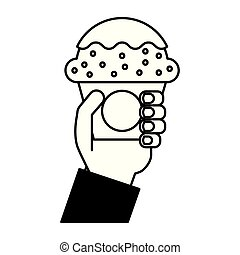 hand holding sweet cupcake food