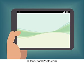 Hand holding tablet as vector illustration with simple wallpaper