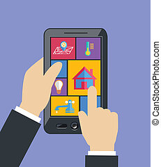 Hand holding mobile phone tablet controls smart home utilities power efficiency technology flat concept vector illustration