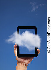 hand holding tablet pc and cloud background