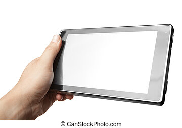 Hand holding Tablet PC isolated on white