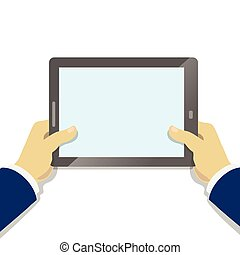 Hand holding tablet pc with blank screen. Flat style. Businessman holding tablet