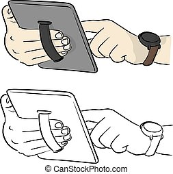 hand holding tablet PC with elastic finger strap vector illustration sketch doodle hand drawn with black lines isolated on white background